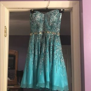Sherri Hill turquoise dress